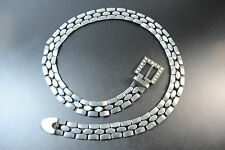 CHUNKY GEOMETRICAL METAL SILVER FASHION BELT WITH DIAMANTE ON BUCKLE (BL1)