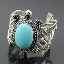 Boho Vintage Tibetan Silver Sea Turtle Turquoise Open Wide Bangle Cuff Bracelet
