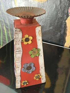 Unique Handcrafted Red Wooden Candle Holder Tin Aluminum Metal Floral Design