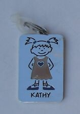 Kathy NAME CHARM dog tag pendant zipper pull key chain flair ganz