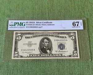 ⭐SUPERB GEM⭐ 1953A $5 Silver Certificate - Certified PMG Uncirculated 67EPQ C2C
