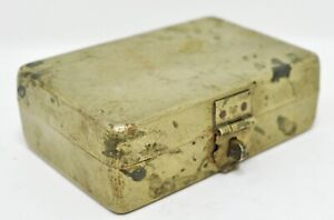 Original Old Antique Hand Crafted Small Brass Rectangle Box