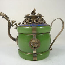 Collectible old china handwork superb jade teapot armored dragon lion monkey lid
