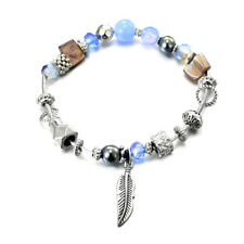 Charming Light Pale Blue silver Spacers charms Leaf Pearl Bead Elastic Bracelet