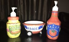 Cooks Club Ketchup and Mustard Dispenser Ceramic Condiment Set With Bowl