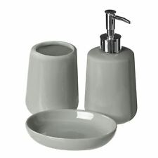 Moon 3pc Grey Ceramic Bathroom Soap Dish Lotion Dispenser Tumbler Accessory Set