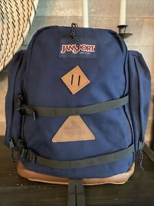 New W/O Tags Vintage 90s Jansport Leather Backpack Day Pack Made in USA Blue