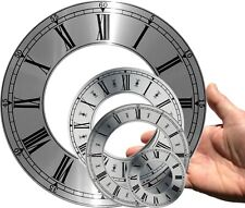 Clock dial, chapter ring, brushed silver, diameter OD 70 - 207mm