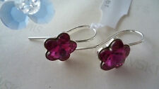 SOLID STERLING SILVER 925 EARRINGS WITH GENUINE SWAROVSKI FLOWER CRYSTAL FUCHSIA