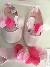 Gymboree Flower Crib Shoe Baby Shoes US size 4 and matching headband