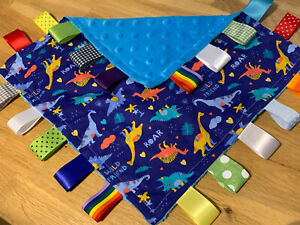 DINOSAUR THEMED BABY/TODDLER TAGGY BLANKET/COMFORTER/GIFT ****MANY OPTIONS*****