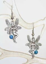 Fairy Earrings 1980s vintage Fantastic Blue Enamel Silvery