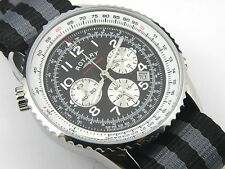 Men's Rotary GS03448/04 Round Black Leather Tachymeter Chronograph - 100m