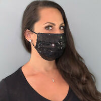 Black Sequins Cotton Fabric Fashion Face Mask Cover with Nose Wire, Made in USA