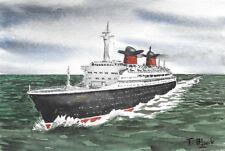 "ORIGINAL AQUARELL - Passagierschiff ""France"" auf See."