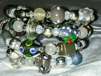 Memory Wire Wrapped Bracelet With Grey & White Color Toned Glass Beads  Handmade