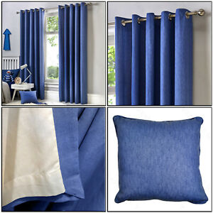 Fusion Denim Blue Eyelet 100% Cotton Plain Dyed Lined Ring Top Curtains Pair