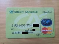 MASTER CARD hologram CREDIT AGRICOLE bank expired debit card from Ukraine