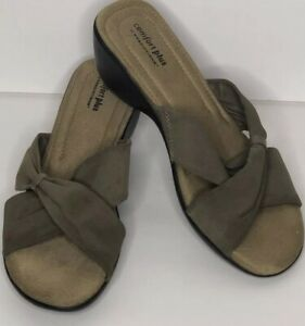 Comfort Plus By Predictions Womans Sandals Size 11W Wedge Tan Taupe Slip On Wide