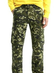 Levi's 502 Taper Hybrid Cargos Camo Men's Hunting Pants Stretch Army Green Cargo