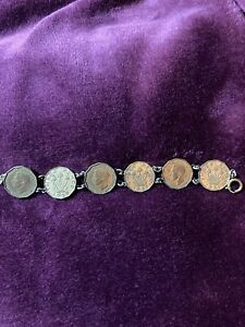 Unusual Vintage bracelet  6 linked British 1937 threepenny bit coins