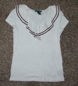 RALPH LAUREN White Jr Large 9 / 10 Soft Stretchy Cotton Ruffled Neck Shirt