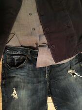 Refuge BOYFRIEND Dark Blue Denim Jean Ankle Pant Destroyed Distressed Sz 8 10 11