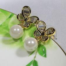 18K Yellow Gold Filled CZ Shell Pearl Women Fashion Stud Dangle Earrings E2292B