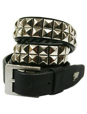 Lowlife Dub Leather Belt in Black Silver