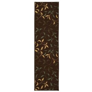 Modern Leaves Design Chocolate 3x10 ft. Runner Rug Hallway Entryway Area Carpet
