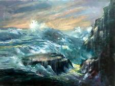 Carmel By The Sea California Ocean Surf 18x24 in.oil on canvas Hall Groat Sr.