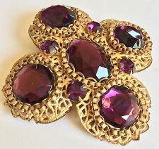 Grand Vintage Miriam Haskell Brooch Pin~Amethyst Purple RS/Gold Tone Filigree