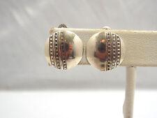Vintage Wayne De Santis Sterling Silver Stamped Design Disc Clip On Earrings