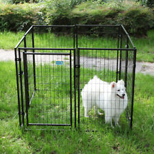 8-Piece 45.7�H Outdoor Heavy-Duty Metal Dog Fence Kennel Enclosure Large Black