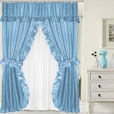 "Lauren Double Swag PEVA Fabric Shower Curtain w/ Tie Backs & Liner 70"" x 72"""