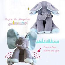 "12"" NEW Peek A Boo Elephant Baby Flappy Plush Peekaboo Toy Singing Kids Doll"