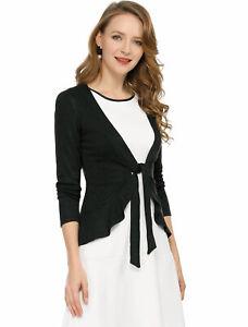 Women's Tie Front Ruffled Hem Crop Knit Cardigan
