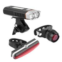 USB Rechargeable LED Bike Bicycle Cycling Front Headlight + Rear Tail Light Lamp