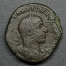 EXTREMELY RARE BRONZE SESTERTIUS OF AEMILIAN: VICTORY. ROME, JUL.- OCT. AD 253.