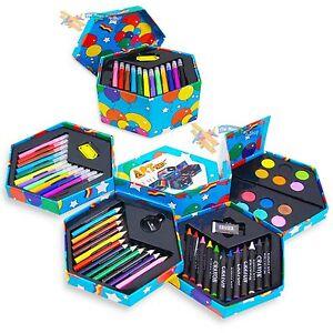 Kids 52 Pcs Craft Art Artists Set Hexagonal Box Crayons Paints Pens Pencils