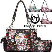 Sugar Skull Rose Flower Fashion Handbag Women Concealed Carry Purse / Wallet Set