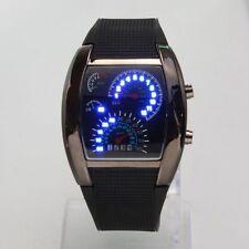 Blue LED Light Steel Case Aviation Speedometer Analog Wrist Sport Watch Black