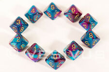DICE Chessex Gemini PURPLE TEAL 10d10 d10 Set Marble Shiny RPG Game Super 26249