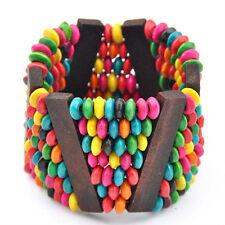 Vintage Colourful Wood Beads Bracelet handwork Bangle