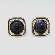 Sodalite Cabochon Cufflinks 925 Silver Modernist Franz Scheuerle Mens Minimalist