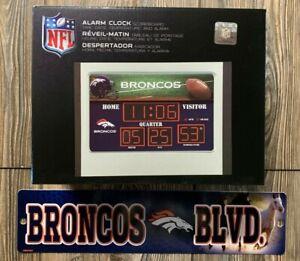 NEW Denver Broncos NFL Scoreboard Alarm Clock & Novelty Street Sign Fan Gift Set
