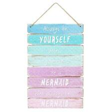Mermaid Ombre Wall Door Hanging Sign Plaque Kids Bedroom Quote Decor Girls Gifts