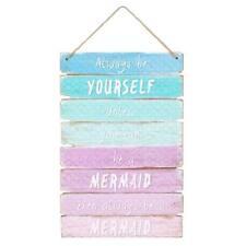 Mermaid Ombre Wall Door Hanging Sign Plaque Kids Bedroom Quote Decor Girls Gifts