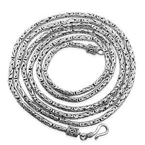 Handmade 2.5 mm Byzantine Bali Borobudur Chain Necklace in 925 Sterling Silver