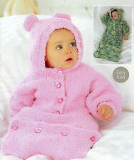 BABY GIRLS  BOYS EASY KNIT SLEEPING BAG CHUNKY KNITTING PATTERN  (1458)